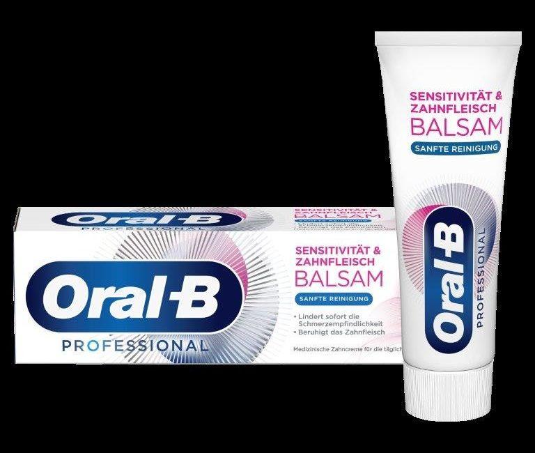 Wirkt sofort: die neue Oral-B Sensitivität und Zahnfleisch Balsam Zahncreme für schmerzempfindliche Zähne