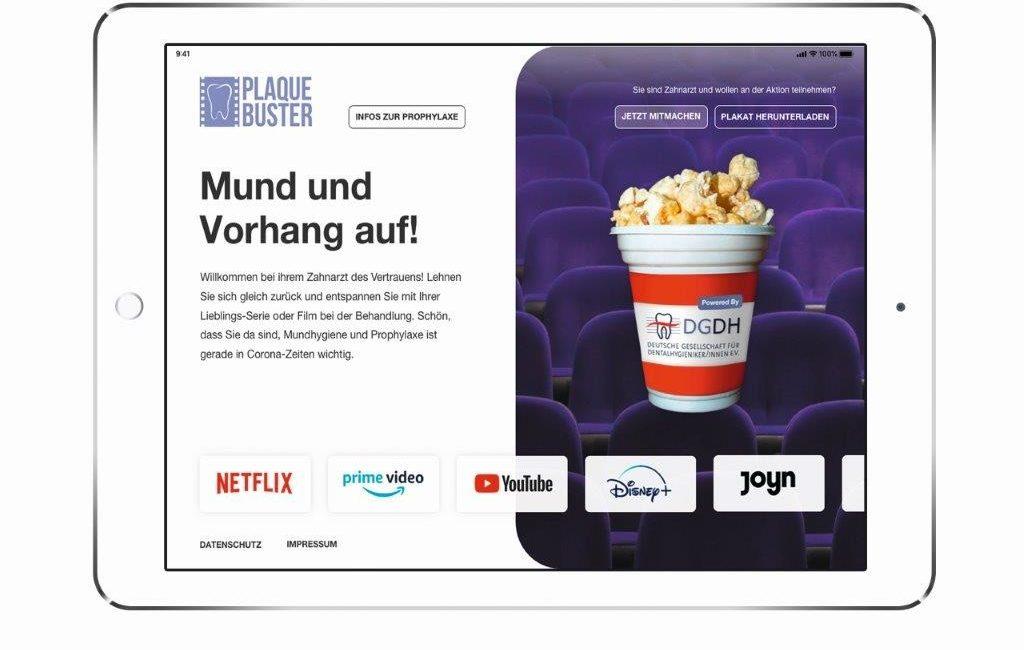 """Corona-Aktion: DGDH und WEFRA LIFE laden mit """"Plaquebuster""""  Patienten zum Streaming in die Praxen ein"""